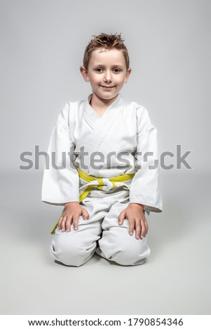 martial arts child sitting in traditional Japanese form. Royalty-Free Stock Photo #1790854346