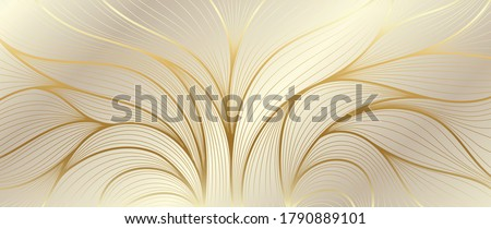 Luxury golden wallpaper. Art Deco Pattern, Vip invitation background texture for print, fabric, packaging design, invite.  Vintage vector illustration. #1790889101