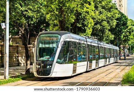 City tram in downtown Rio de Janeiro, Brazil Royalty-Free Stock Photo #1790936603