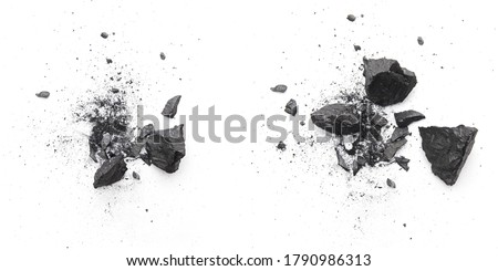 Pieces of broken black coal isolated on white background Royalty-Free Stock Photo #1790986313