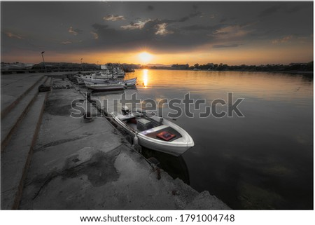 The pic is taken in black sea close to city Aheloi. The sunset and the boat create this pic with wonderful feelings colors and atmosphere. Perfect image for your wall to to fill your eyes with love.