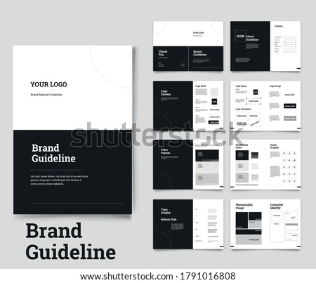 Brand Guideline Template Brand Style Guide Book Brochure Layout Brand Book Brand Manual Royalty-Free Stock Photo #1791016808