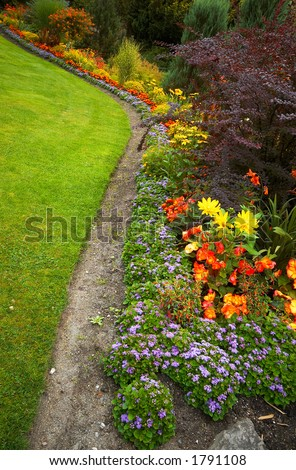 Arranged flowers and lawn in Vancouver Queen Elizabeth Park. #1791108