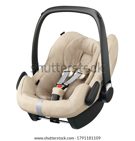 Beige Baby Carrier Isolated on White Background. Side View of Brown Child Safety Seat. Modern Restraining Car Seat with Side Impact Protection. Travel Gear. Infant Restraint System Royalty-Free Stock Photo #1791181109