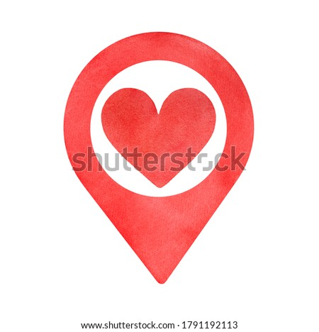 Water color illustration of bright classic map pointer with lovely heart sign. Hand painted watercolour graphic drawing, clip art element for design decoration, sticker, welcome banner, business card.