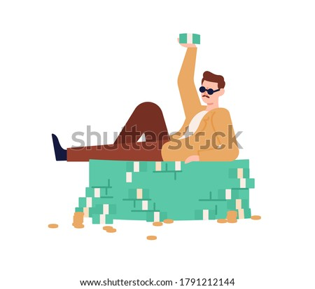 Rich guy in sunglasses lying on heap of cash and coins vector flat illustration. Male millionaire raising up wad of money demonstrate financial success isolated on white. Man relax on currency stack Royalty-Free Stock Photo #1791212144