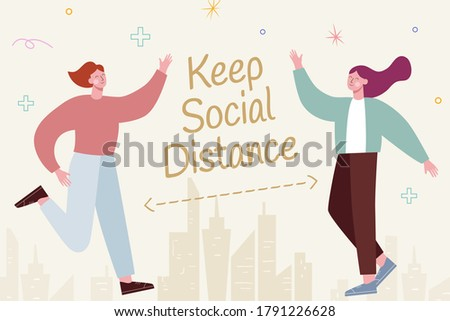 Cute characters greeting each other and keeping social distancing to prevent COVID-19, illustration in flat design