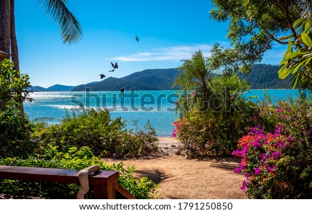 Tropical mountain sea beach scene. Sea beach in mountains. Blue lagoon sea beach landscape. Sea bay beach in mountains #1791250850