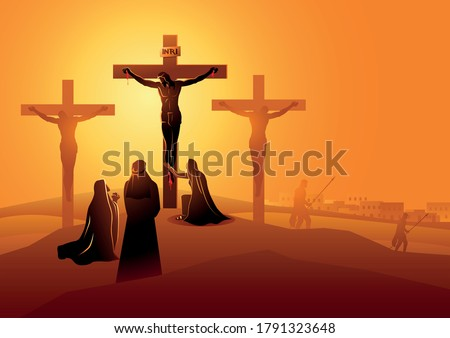 Biblical vector illustration series. Way of the Cross or Stations of the Cross, twelfth station. Mary the Mother of Jesus, John the beloved disciple and Mary of Magdala at the Crucifixion