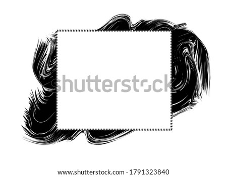 Text frame vetor for abstract grunge paint blob strokes black and white background, modern banner design for information message copy space, artistic textbox on dirty ink backdrop for quotes clipart