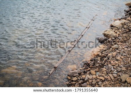 Close up autumn landscape nature background stone shore of the lake and bamboo floating on water.Calm transparent water surface of lake. #1791355640