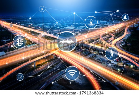 Smart transport technology concept for future car traffic on road . Virtual intelligent system makes digital information analysis to connect data of vehicle on city street . Futuristic innovation . Royalty-Free Stock Photo #1791368834