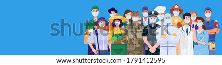 Essential workers, Various occupations people wearing face masks. Vector Royalty-Free Stock Photo #1791412595