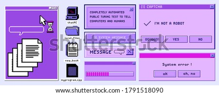 Old user interface windows, retro message box with buttons. Vaporwave and retrowave style elements. #1791518090