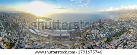 wide view panorama of Beirut port before explosion of 4 August 2020 Royalty-Free Stock Photo #1791675746