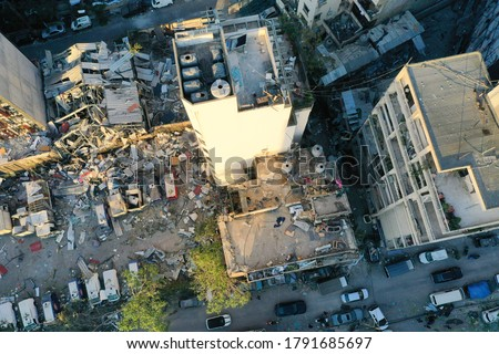 The destruction caused by the explosion in Beirut, Lebanon Royalty-Free Stock Photo #1791685697