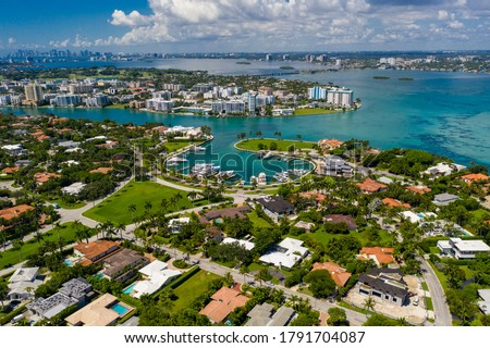 Aerial photo Miami Bal Harbour luxury neighborhood Royalty-Free Stock Photo #1791704087