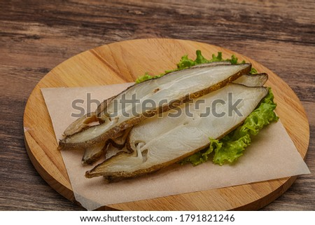 Delicous smoked halibut fish slices snack