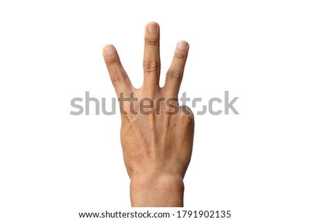 The fingers of an Asian man, a red black hand, held 3 fingers, the index finger, the middle finger and the ring finger. It's the back image of the finger. Isolated white background #1791902135
