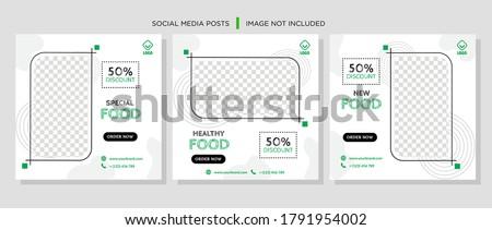 Social Media Post for Food Promotion offer poster, Healthy Food Social Media Banner & Post. Food social media web banner design template, Food Social media, and web square banner design template. #1791954002