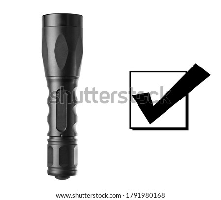 Flashlight Isolated on White Background. Front View of Powerful Black Aluminum Metal Tactical Led Flashlight. Modern Personal Defense Equipment. Portable Hand-Held Electric Light Torch Royalty-Free Stock Photo #1791980168