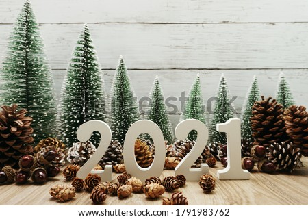 Happy New Year 2021 festive background with christmas tree and pine cone decoration on wooden background #1791983762