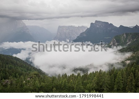 Green, forested mountain valley, covered in clouds, with steep rocky walls visible in the background. The photo was taken on a rainy, misty, overcast day, during Alta Via trek in Italian Dolomites.