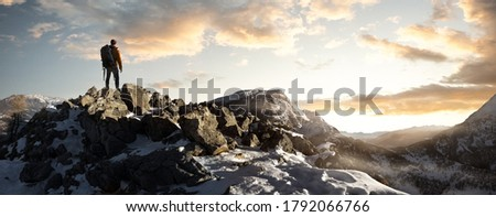 Hikers in the winter mountains   Royalty-Free Stock Photo #1792066766
