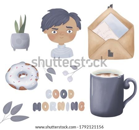 Coffee blue cup. donut, envelope, home plants, good morning lettering, character boy. Hand drawn  illustration. Used for poster, banner, web, t-shirt print, sticker print, badges, flyer, logo design