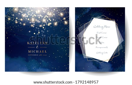 Magic night dark blue cards with sparkling glitter bokeh and line art. Diamond shaped vector wedding invitation. Gold confetti and navy background. Golden scattered dust.Fairytale magic star templates #1792148957