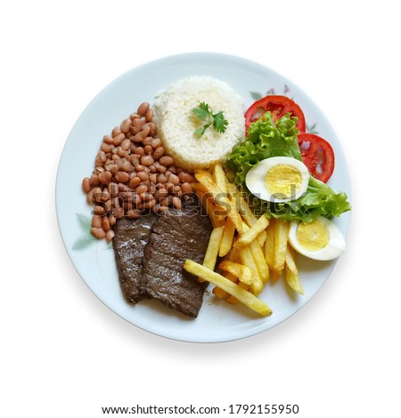 Brazilian food dish. Lunch. Executive. Dish done. Isolated on white background Royalty-Free Stock Photo #1792155950