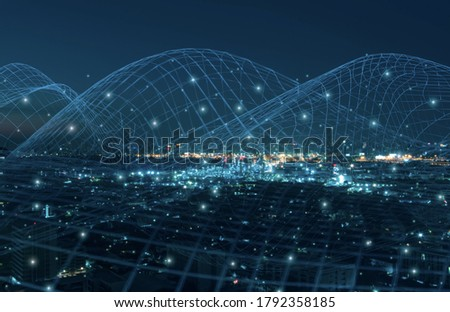 blurred futuristic city digital network technology concept,internet of things,grid and dot polygonal connection communication background,structure glowing blue,dark light background,banner panoramic