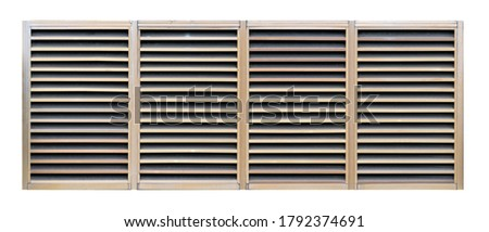 White zinc or aluminum metal window for air outlet on isolated white background