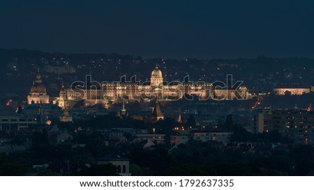 Buda royal castle panoramic photo. St Stephen basilica dome Vajdahunyad castle towers and Buda royal castle in this picture from unique viewpoint