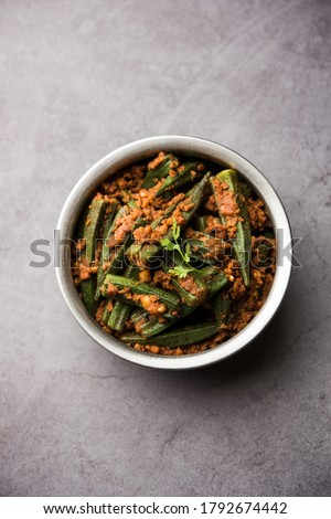 Bharwa Masala Bhindi or Stuffed Okrais an indian main course vegetable recipe made usingladies' fingers or ochroand spices