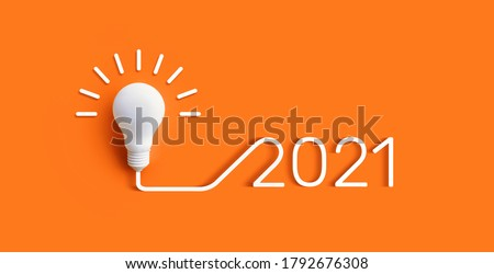 2021 Creativity and inspiration ideas concepts with lightbulb on pastel color background.Business solution  #1792676308