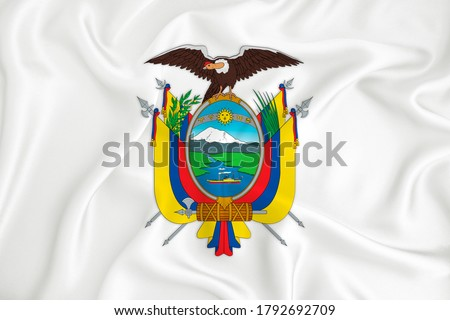 A developing white flag with the coat of arms of Ecuador. Country symbol. Illustration. Original and simple coat of arms in official colors and the right proportion Royalty-Free Stock Photo #1792692709