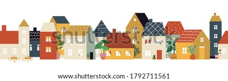 European city street pattern. Restaurant cafe district, house facade banner. Flat neighborhood, cute tiny buildings and plants, home or shop front view illustration Royalty-Free Stock Photo #1792711561