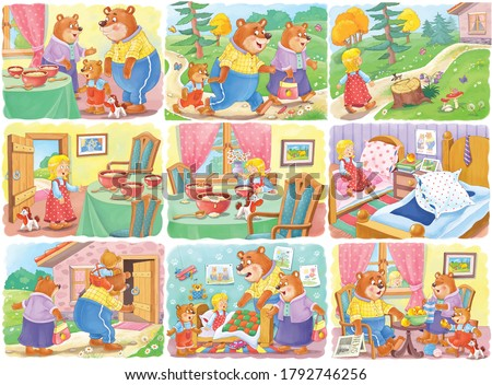 Goldilocks and the three bears. Fairy tale.  Collection of 16 illustrations. Coloring book. Illustration for children. Cute and funny cartoon characters