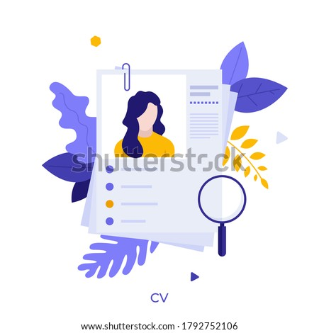 Curriculum vitae or CV and magnifying glass. Concept of professional staff recruitment, job application, hiring personnel, selection of candidates, employment. Modern flat vector illustration. Royalty-Free Stock Photo #1792752106