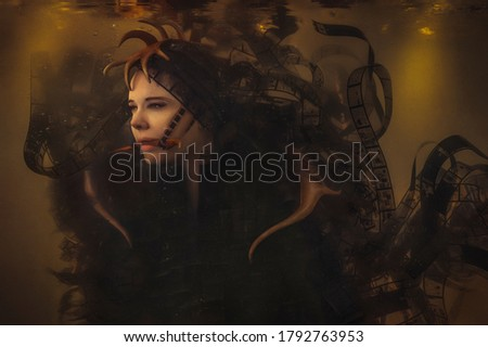 Female underwater creature with antlers wearing film strips floating around Royalty-Free Stock Photo #1792763953