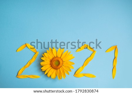 Sunflower petals in the form of numbers 2021 on a blue background. 2021 new year new reality. summer it is time for traveling #1792830874