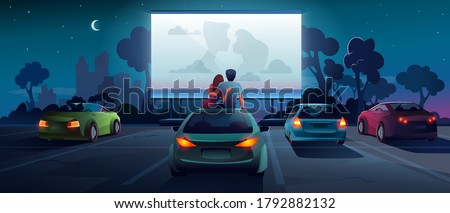 Drive cinema or car movie theater, auto theatre, vector cartoon outdoor screen background. Car cinema or drive movie in open air, boy and girl couple embrace, sit and watch romantic movie on car roof #1792882132