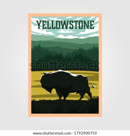 bison on yellowstone national park vintage poster vector illustration, travel poster design Royalty-Free Stock Photo #1792900759