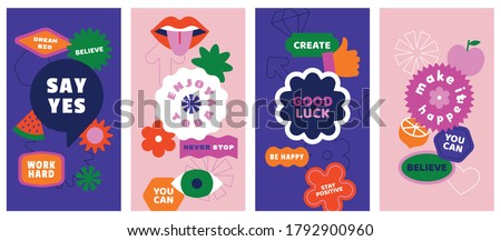 Vector set of design elements, patches and stickers with inspirational phrases - abstract elements for branding, packaging, prints and social media posts Royalty-Free Stock Photo #1792900960