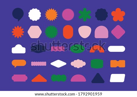 Vector set of design elements, patches and stickers with copy space for text - abstract background elements for branding, packaging, prints and social media posts Royalty-Free Stock Photo #1792901959