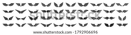 Set of black wings icons. Wings badges. Collection wings badges. Vector illustration. #1792906696