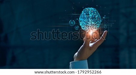 Hand touching brain of AI, Symbolic, Machine learning, artificial intelligence of futuristic technology. AI network of brain on business analysis, innovative and business growth development. #1792952266