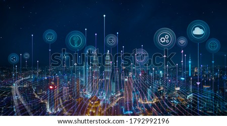 Panorama aerial view in the cityscape skyline with smart services and icons, internet of things, networks and augmented reality concept , night scene . #1792992196