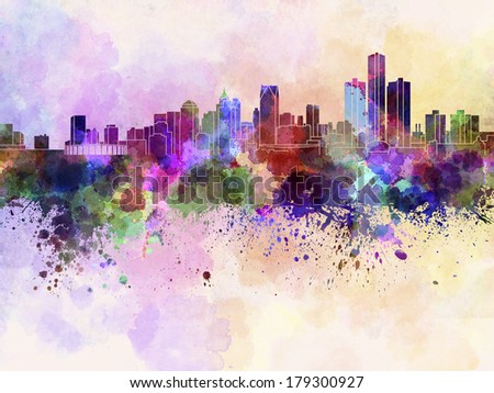 Detroit skyline in watercolor background